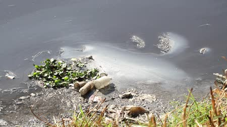 Water pollution with garbage, plastic and human waste waterfall in Mexico City Sewer system CA 2014