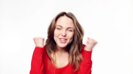 vzrušený : Winner, success concept. Happy overjoyed woman celebrating successful shouting