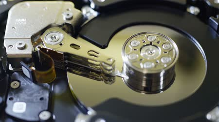 hdd : Closeup internals of SATA hard disk drive, shallow depth of field, sliding video