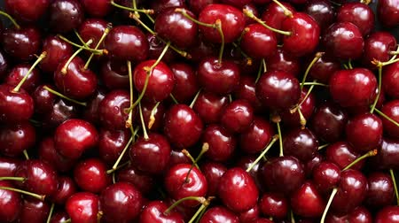 Background top view 4k video of ripe cherries rotating