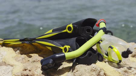 Snorkeling equipment on sea beach