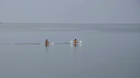 remo : two balinesian boys paddle on surfboards at the ocean Vídeos
