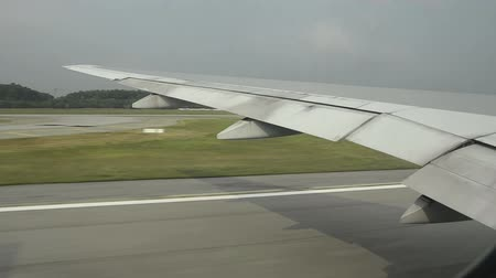folga : airplane at takeoff. view trough window with some shaking Stock Footage