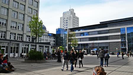 abbe : Jena, Germany - April 17, 2014: Campus of the university in Jena, Germany. Its the Ernst-Abbe-Platz in the middle of the city. A lot of students  meeting here, eating in the Mensa and waiting for lecture. Stock Footage