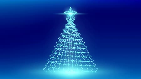 Christmas Tree with Star wireframe polygon bokeh light frame structure and lens flare, Technology connection concept illustration isolated on blue gradient background seamless looping animation 4K