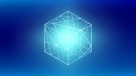 Cube box isometric wireframe polygon bokeh light frame structure, Blockchain cryptocurrency concept design illustration on blue gradient background seamless looping animation 4K Stock Footage