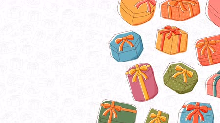 Gift box icon moving pattern background cartoon kids hand drawing illustration, Happy Birthday concept design isolated on white background seamless looping animation 4K, with center copy space Dostupné videozáznamy