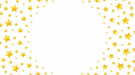 Christmas star symbol pattern rotate moving gold color illustration on white background seamless looping animation 4K, and luma matte alpha channel with copy space