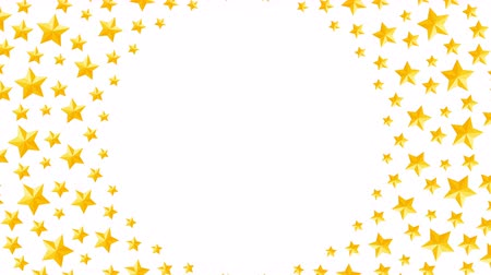christmas background : Christmas star symbol pattern rotate moving gold color illustration on white background seamless looping animation 4K, and luma matte alpha channel with copy space