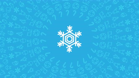 Snowflake Christmas icon pattern circle shape rotate moving illustration on red color background seamless looping animation 4K, and luma matte alpha channel with copy space center