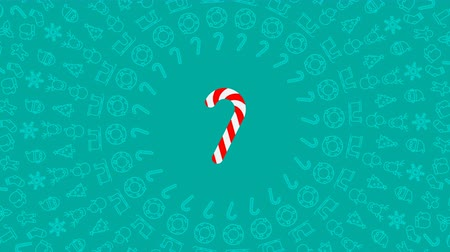 Cane candy Christmas icon pattern circle shape rotate moving illustration on red color background seamless looping animation 4K, and luma matte alpha channel with copy space center