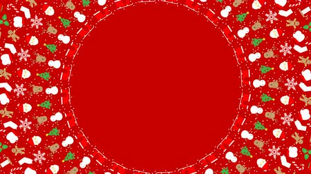 Christmas icon pattern circle shape rotate moving illustration on grey color background seamless looping animation 4K, and luma matte alpha channel with copy space center