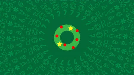 Christmas wreath round mistletoe branch icon pattern circle shape rotate moving illustration on red color background seamless looping animation 4K, and luma matte alpha channel with copy space center Stock Footage