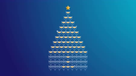 Champagne tower yellow gold color and star gold color made christmas tree illustration flat design on blue gradient background seamless looping animation 4K, with copy space