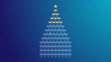 Champagne tower yellow gold color and star gold color made christmas tree illustration flat design on blue gradient background animation 4K, with copy space