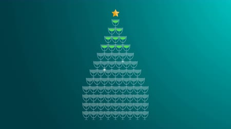 Champagne tower green color and star gold color made christmas tree illustration flat design on green gradient background animation 4K, with copy space Stock Footage