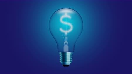 Alphabet Incandescent light bulb switch on set Currency USD (United States Dollars) symbol concept glow in blue gradient background seamless looping animation 4K, with copy space
