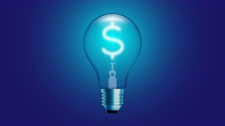 Alphabet Incandescent light bulb blink switch on set Currency USD (United States Dollars) symbol concept glow in blue gradient background seamless looping animation 4K, with copy space Stock Footage