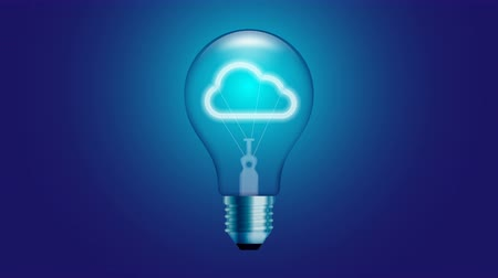 Cloud icon symbol Incandescent light bulb beating switch on set Connection concept glow in blue gradient background seamless looping animation 4K, with copy space