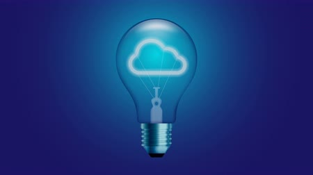 Cloud icon symbol Incandescent light bulb switch on set Connection concept glow in blue gradient background seamless looping animation 4K, with copy space