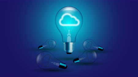 Cloud icon symbol Incandescent light bulb beating moving switch on set Connection concept glow in blue gradient background seamless looping animation 4K, with copy space Dostupné videozáznamy