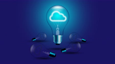 Cloud icon symbol Incandescent light bulb blink switch on set Connection concept glow in blue gradient background seamless looping animation 4K, with copy space