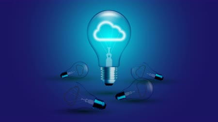 Cloud icon symbol Incandescent light bulb beating moving switch on set Connection concept glow in blue gradient background seamless looping animation 4K, with copy space Stock Footage