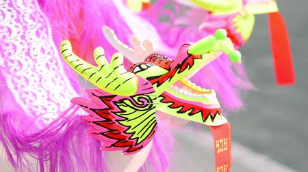 Chinese paper dragon toy in Chinese New Year. Stok Video