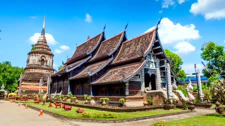 4K Time-lapse of Wat Lok Molee Temple, Old wooden church in Chiangmai, Thailand.