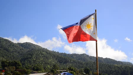 The Philippine Flag waving in the wind on hill Stok Video