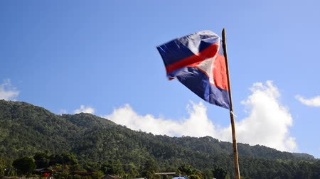 Cambodia flag waving in the wind on hill