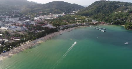 Aerial view of Patong beach, Phuket, Thailand. January 2018.