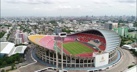 stopy : Bangkok, Thailand. Aerial view of Rajamangala Stadium. a part of The Hua Mak Sports complex. this is the home stadium for Thailand national football team.
