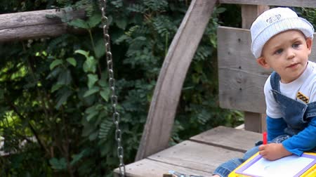 swing : child on wooden swing Stock Footage