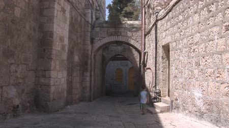 kudüs : Jerusalem street in Old City Stok Video