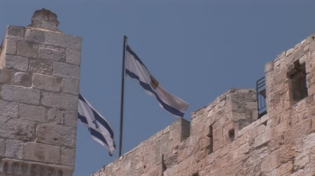 jeruzalém : flags over the tower of David in Jerusalem Dostupné videozáznamy