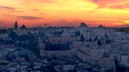 jeruzalém : Jerusalem - sunset over the old city