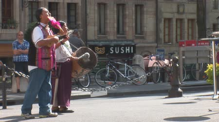 dizi : Geneva: street music in Geneva (Peru, Latin America) Stok Video