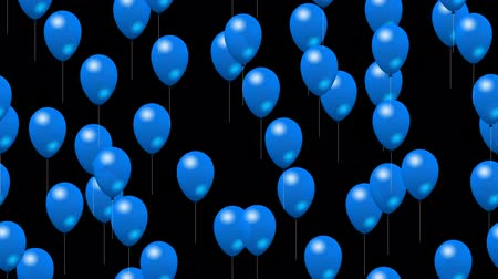 balonlar : Party blue balloons generated seamless loop video with alpha matte
