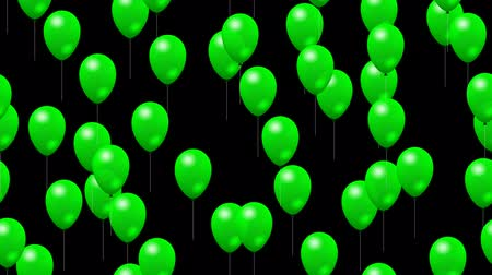 fosco : Party green balloons generated seamless loop video with alpha matte
