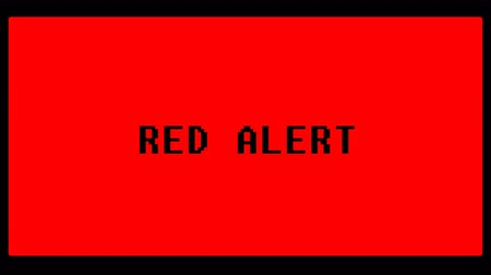 Red alert in 80s old computer pixelated style 4K
