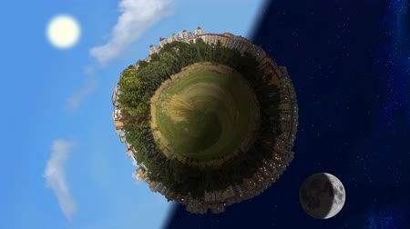 Tiny planet world panorama in day and night, seamless loop animation Stok Video