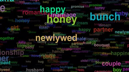 Wedding love concept words moving DOWN, seamless loop Stok Video