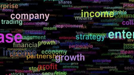publicity : Business concept words moving RIGHT, seamless loop Stock Footage
