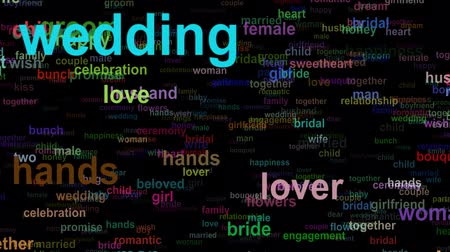 söz : Wedding love concept words moving RIGHT, seamless loop Stok Video