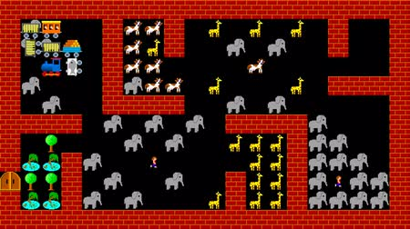 labirent : Train puzzle, retro style low resolution pixelated game graphics animation, level 46