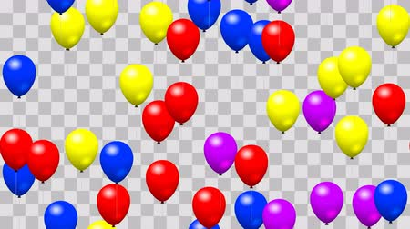 balonlar : Party balloons seamless loop with PNG transparency Stok Video