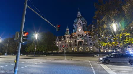 hanover : Hannover, Germany - October 17, 2017: New Town Hall in Hanover, Germany at early morning Stock Footage