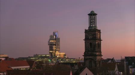 Hannover skyline at autumn evening. Time lapse.