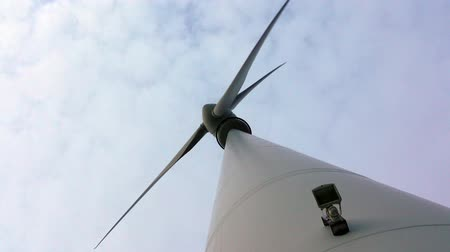Closeup of Wing Turbine Generator against clody sky. Lower Saxony. Germany.